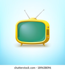 TV in cartoon style with bright color. On the screen you can make your inscription.