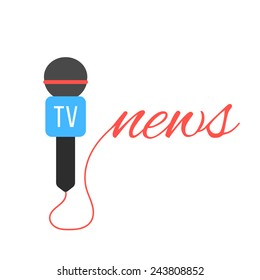tv channel microphone with news lettering. concept of journalism, live news, interview and breaking news. isolated on white background. flat style trendy modern logotype design vector illustration