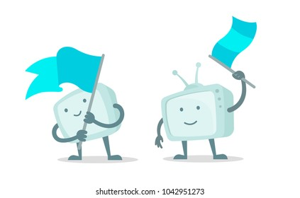 TV character show with with flag set. Character waving a flag. With a smile of face, hands and feet. Flat color vector illustration stock.