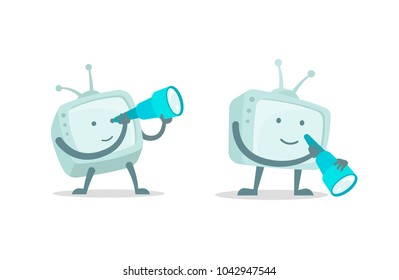 TV character with spyglass set. With telescope search. Flat color vector illustration stock clipart