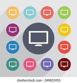 tv circle, flat icons set. Round colorful buttons
