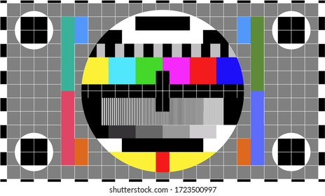 TV colour bars test card screen. SMPTE Television Color Test Calibration Bars. Test card. SMPTE color bars. Graphic for footage video.