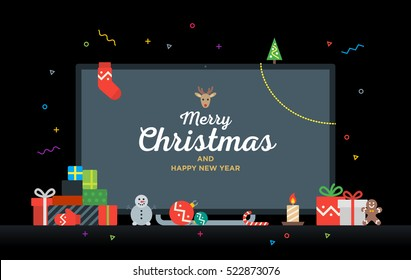 TV with Congratulatory text Merry Christmas and Happy New Year with gifts, presents, bauble, candy. Modern Geek Christmas Card. Material design Vector illustration