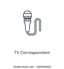 TV Correspondent concept line icon. Linear TV Correspondent concept outline symbol design. This simple element illustration can be used for web and mobile UI/UX.