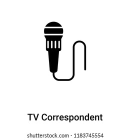 TV Correspondent icon vector isolated on white background, logo concept of TV Correspondent sign on transparent background, filled black symbol