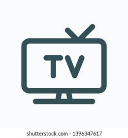TV display isolated icon, television set outline vector icon