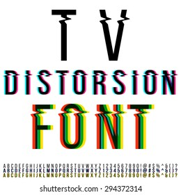 Tv distortion font, three version with color aberration. Vector