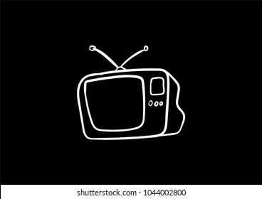 tv doodle icon vector flat black