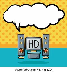 tv doodle, speech bubble