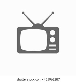 TV flat icon. Silhouette TV. TV isolated on background
