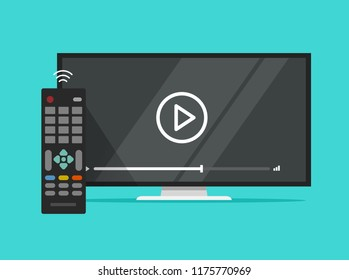 TV flat screen watching video film and remote control vector illustration, flat cartoon television display and movie or film on screen