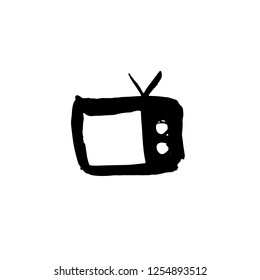 Tv grunge icon. Television watercolor brush vector illustration.