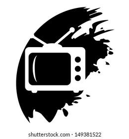 TV grunge vector icon