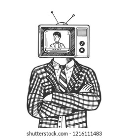 TV head of man engraving vector illustration. Scratch board style imitation. Black and white hand drawn image.