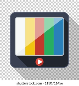 TV icon in flat style with long shadow on transparent background