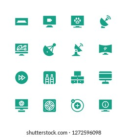 tv icon set. Collection of 16 filled tv icons included Television, Electron, Extractor, Screen, Minibar, Fast forward, Satellite dish, Video, Tv table