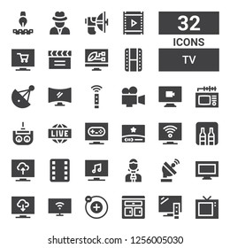 tv icon set. Collection of 32 filled tv icons included Television, Furniture, Electron, Smart tv, Tv, Satellite dish, News reporter, Film, Minibar, Video, Live, Remote control