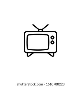 Tv icon, Television symbol in outline style on white background