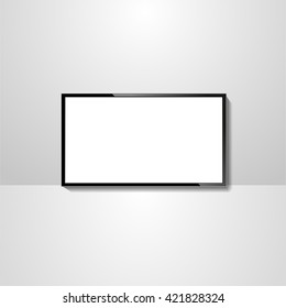 tv icon, vector modern led tv, isolated tv screen blank