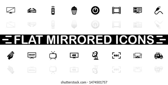 Tv icons - Black symbol on white background. Simple illustration. Flat Vector Icon. Mirror Reflection Shadow. Can be used in logo, web, mobile and UI UX project.