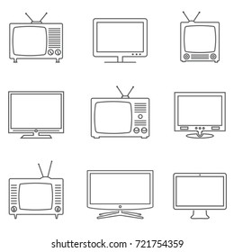 TV icons set. Linear vector icons. TV isolated pictograms.