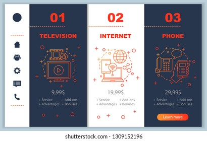 TV, internet, phone bundle onboarding mobile app screens with service prices. Walkthrough website pages templates. Communication services providers tariff plans steps. Smartphone payment web layout