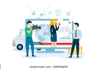TV journalist or news reporter concept. Character with camera shooting interview. Social media. Reporter speaking using microphone. Isolated vector illustration in cartoon style