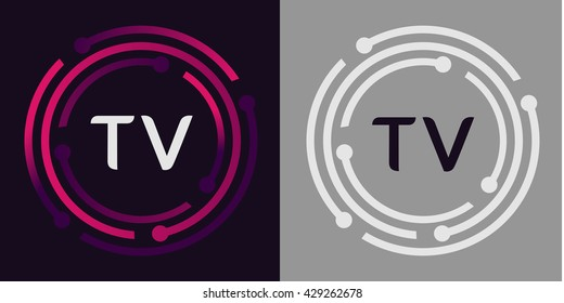 TV letters business logo icon design template elements in abstract background logo, design identity in circle, alphabet letter