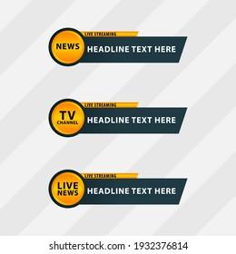 TV live news bars vector illustrations. Design template vector