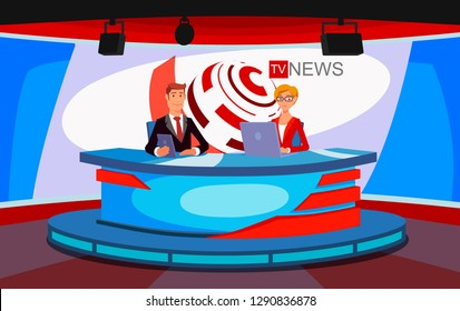 TV live news show host interview. A television studio, a live television news broadcast. Worlds news illustration concept. Tv presenters. Breaking news on broadcasting, stage lighting equipment.