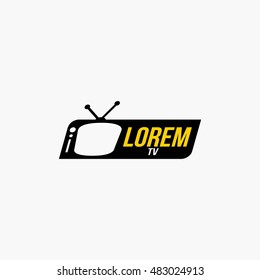 TV Logo Template Design. Vector Illustration with flat style