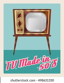 """TV made in 50`s"", television vector image in retro style, gradients wood and golden details of the case, the screen mesh, vintage atomic era design, imitation advertising poster, vector EPS 10"