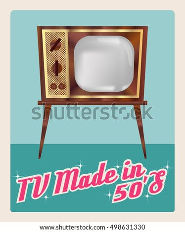 tv made 50 s television vector image stock vector royalty free