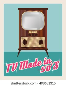 """TV made in 50`s"", televisor vector image in retro style, gradients wood and golden details of the case, the screen mesh, vintage atomic era design, imitation advertising poster, vector EPS 10"