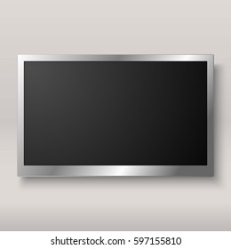 TV, modern blank screen lcd, led with shadow on white background, vector illustration