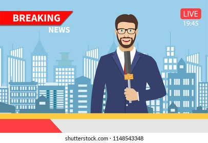 TV news anchorman. News anchor broadcasting the news with a reporter live on screen . Vector illustration in flat style