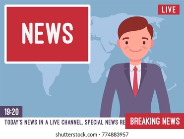 TV news anchorman. Young man, main news reader on a television program, media industry worker reports from a studio on screen current events and information. Vector flat style cartoon illustration
