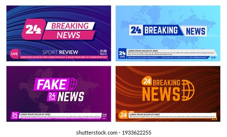 TV news banners. Breaking news banner headline, global news report backdrops. Television news broadcasting banners vector illustration set. Title on world map with bottom bar, message line