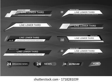 TV News Bars Set Vector. Streaming Video News Sign. Breaking, Sport News.