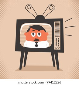 TV News: Cartoon illustration of retro television set broadcasting the news. No transparency and gradients used.