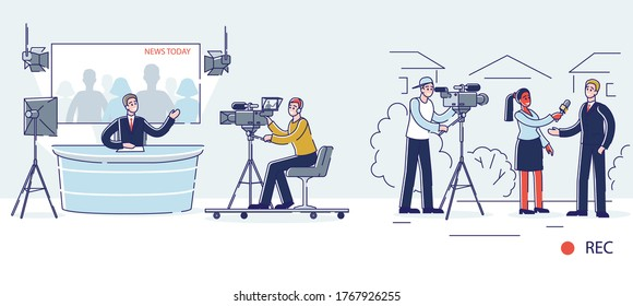 Tv news crew. Studio host, reporter and cameramen working on broadcast. Television channel team workers busy broadcasting. Line art vector illustration