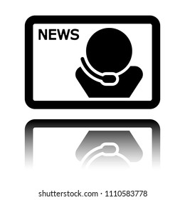 TV news with speaker. Black icon with mirror reflection on white background