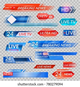 Tv news and streaming video banners. Live, hd, 24 hours online display advertisements, commercials that appear before news or programmers. Vector flat style tv banners cartoon illustration