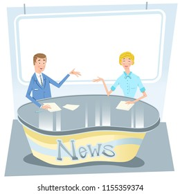 TV news studio with anchorman and anchorwoman at desk, background with empty sign for your text (vector illustration)