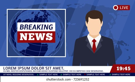 TV news studio with broadcaster and breaking world background vector illustration. Breaking news on tv, broadcasting journalist