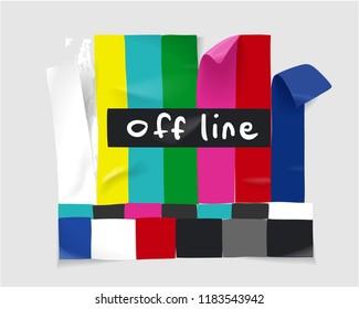 TV off line sticker illustration