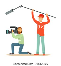 TV people at work recording news
