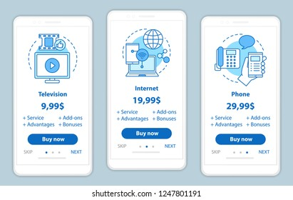 TV, phone, internet bundle onboarding mobile app screens with service prices. Tariff plans and packages. Walkthrough website pages templates. Smartphone payment web page layout