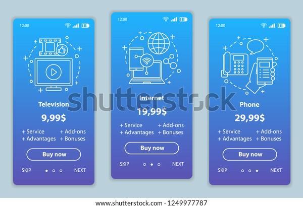 Tv Phone Internet Bundle Onboarding Mobile Stock Vector