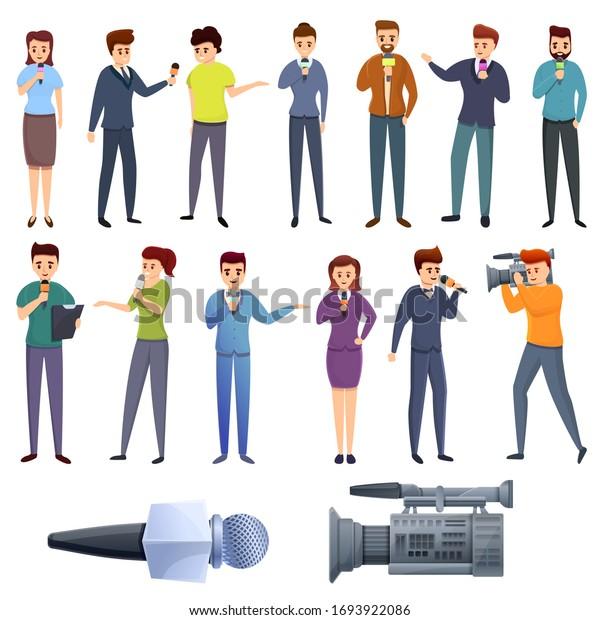 TV presenter icons set. Cartoon set of TV presenter vector icons for web design